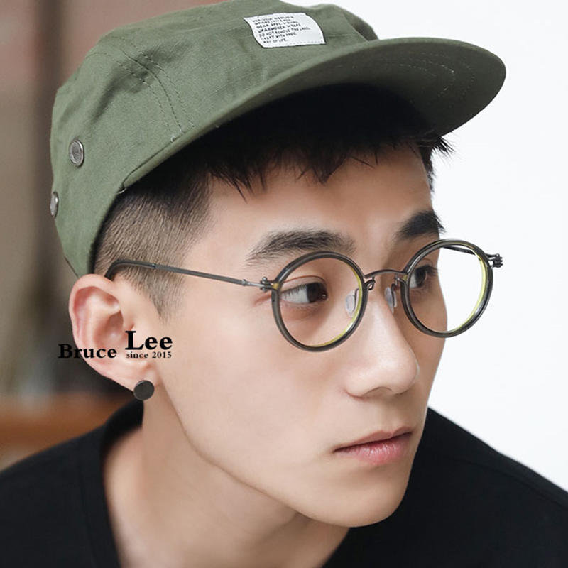 Brand Design Titanium Glasses Frame Men Metal Vintage Round Prescription Eyewear Myopia Optical Eyeglasses Acetate Glasses Frame