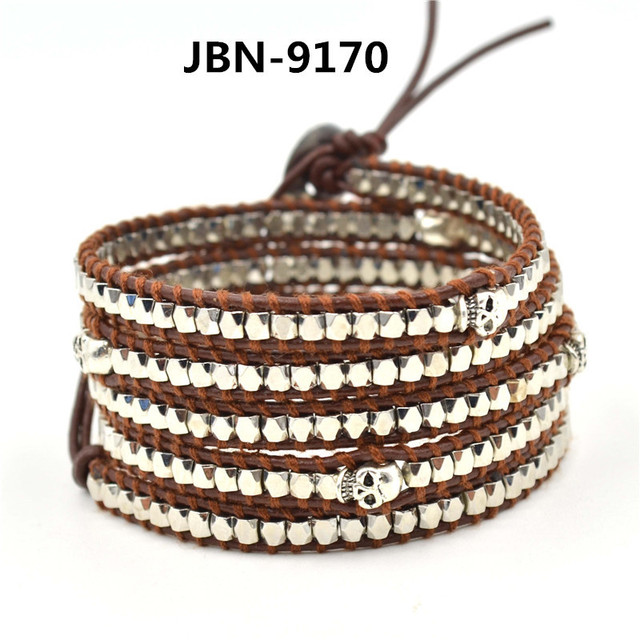 2016 Wristband cuff Leather Bracelets stainless steel silver plated copper beaded silver skull Bracelets bangles JBN-9170