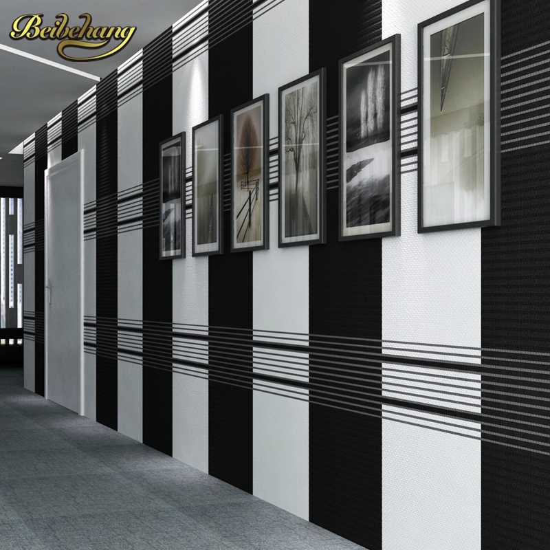 beibehang Striped black white papel de parede para quarto wallpaper for walls 3 d Home Decoration 3D living room wall paper roll shinehome black white cartoon car frames photo wallpaper 3d for kids room roll livingroom background murals rolls wall paper