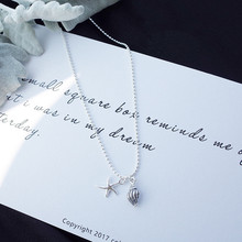 Pure and fresh the starfish cute design restoring ancient ways female conch silver necklace