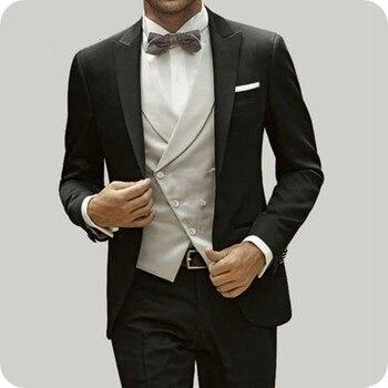 Italian Smoking Jacket Black Men Suits for Wedding Vintage Groom Tuxedos Slim Terno Masculino Prom Suit Coat Pants Vest 3Piece