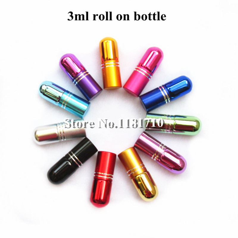 12pcs/lot 3ml Glass Roll On Bottle Mini Essential Oil Bottle Refillable Tiny Perfume Glass Vials 7Colors Free Shipping 100 pcs lot of small glass vials with cork tops 1 ml tiny bottles little empty jars