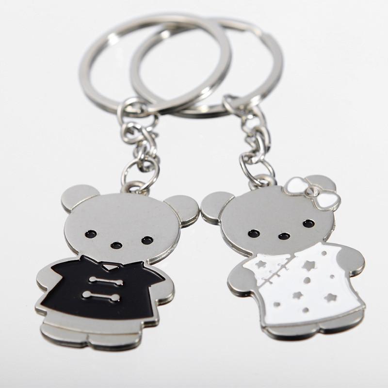 Free Ship!1lot=30pair! Cheongsam Bear Cute Alloy Couple Fashion  Keychains/ Lovers' Keychain/Binding Combs & Spines