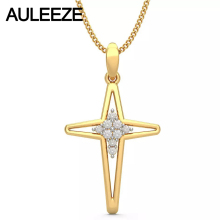 Forever Classic Hollow Cross Pendants Solid 14K Yellow Gold Pendants For Women Natural Diamond Fine Jewelry Anniversary Necklace