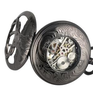 Image 3 - جديد وصول 2019 ريترو الأسود الماعز رئيس تصميم نصف هنتر الميكانيكية اليد لف ساعة جيب الأرقام الرومانية الأزرق قلادة ساعة