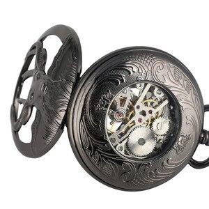 Image 3 - New Arrival 2019 Retro Black Goat Head Design Half Hunter Mechanical Hand Winding Pocket Watch Blue Roman Numerals Pendant Clock