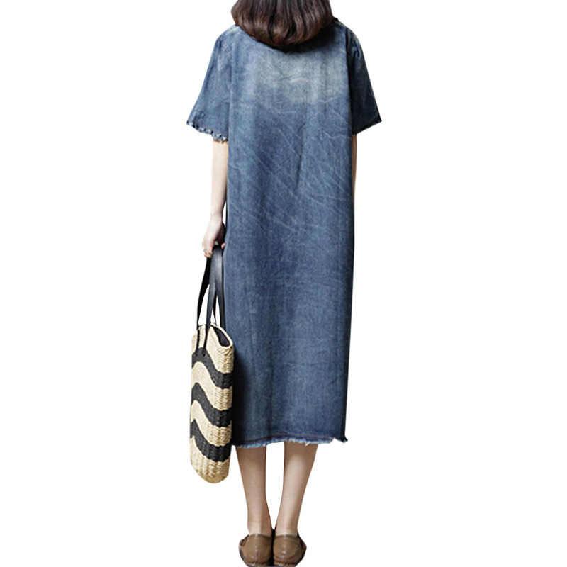 Женское джинсовое платье 2019 летнее джинсовое платье с короткими рукавами с круглым вырезом с разрезом миди винтажное платье свободного кроя повседневное свободное платье длинные платья женские синие