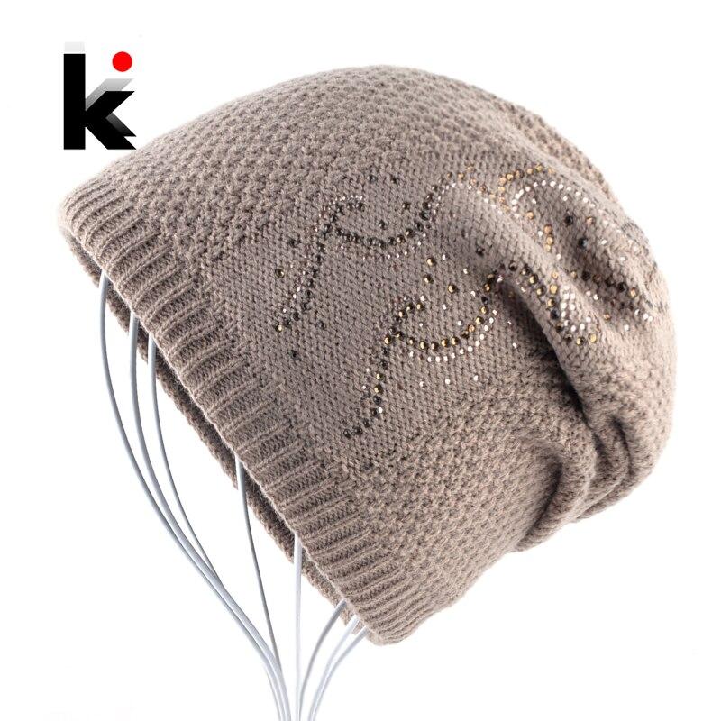 dd8246981ce8 Теплая вязаная шапочка со стразами зимняя двойная ...