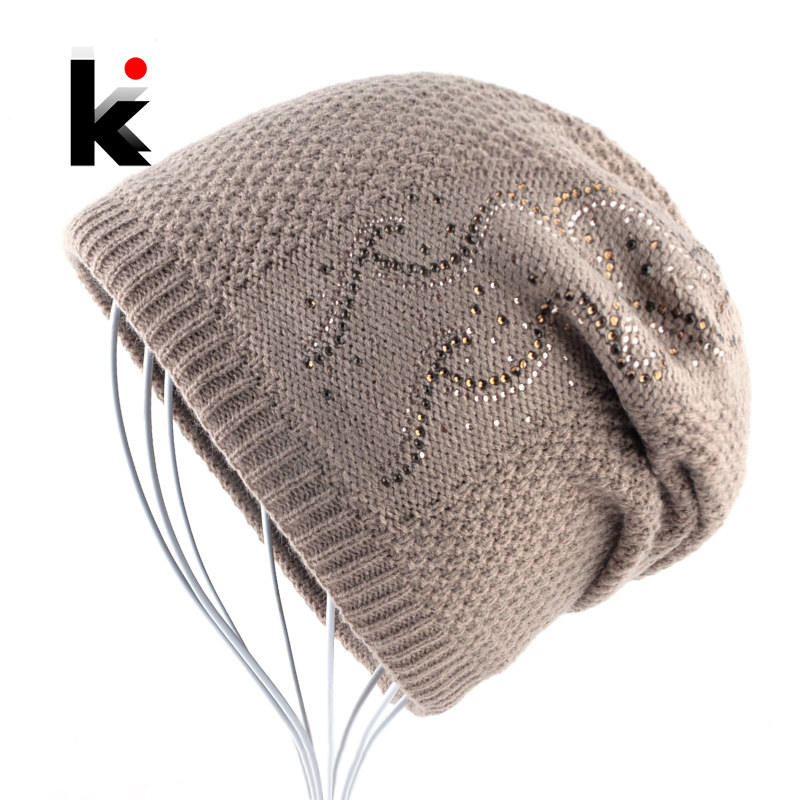 Warm Knitted Beanie With Rhinestones Winter Double Lining Hats For Women Fashion Plait Solid Color Skullies Beanies Ladies cap