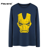 Flevans Iron Man T Shirt Mens Spring Autumn Cotton O Neck Long Sleeve T Shirt Brand