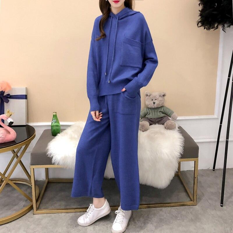 De Kaki Pièces Automne 2018 1 Pantalon A93 Mode Chandails Femmes Qualité Tricoté Haute bleu Chandail Dames Élégantes Costumes Ensembles noir 2 Ugcq78SfWw