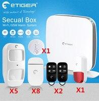 Etiger wifi охранной сигнализации GSM сигнализация дома Системы с ПЭТ Иммунитет PIR датчик движения и открытый строба вспышки сирена