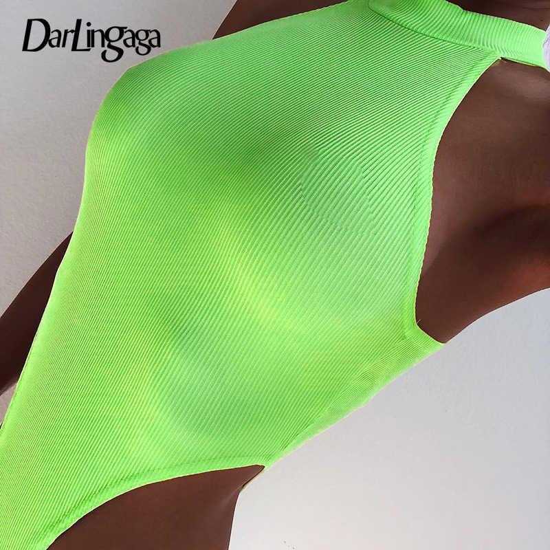 Darlingaga 2019 летние неоновые женские боди в рубчик без рукавов неоновые зеленые Вечерние боди с высокой талией обтягивающий спортивный комбинезон, комбинезоны