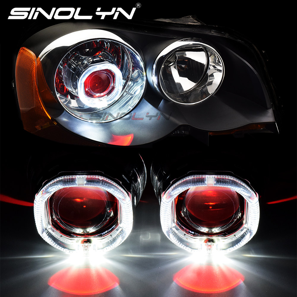 Upgrade 8 0 Square LED Angel Devil Eyes Halo Rings DRL H1 Bi xenon Projector Lenses