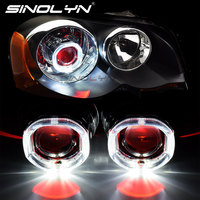 Upgrade 8.0 Square LED Angel Devil Eyes Halo Rings DRL H1 Bi xenon Projector Lenses Accessory For H4 H7 Cars Headlight Retrofit