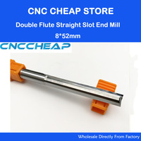 1pc 8 52mm Two Double Flutes Straight Slot Tool Bits Wood Cutters Solid Carbide Foma CNC