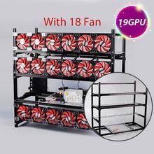 19 GPU Mining Rig Aluminum Stackable Case Open Air Frame ETH/ZEC/Bitcoin Support 18 Fans