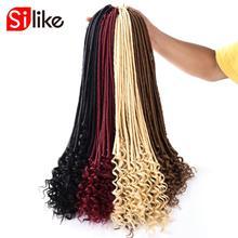 Silike 20 дюймов богиня Faux locs Curly вязанные волосы 24 корня/упаковка искусственные замки синтетические вязанные косички для наращивания волос