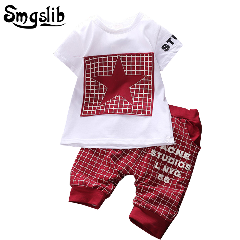 Baby Boy Clothes Summer Newborn baby girl clothes Set Cotton Casual Short Sleeve T-shirt+Cross Pants 2pcs Infant Clothes Set