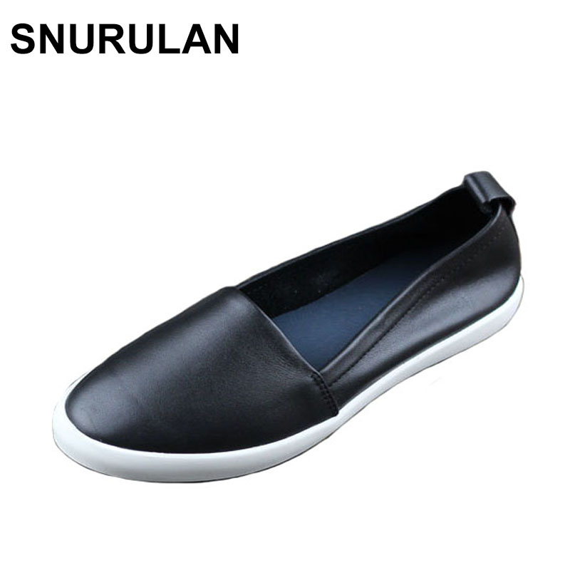 SNURULAN Shoes Woman Flats Genuine Leather Round toe Slip on Loafers Ladies Flat Shoes Skid proof