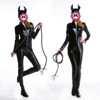 Abbille Adult Costume Cat Women Leather Jumpsuit Night Prowler Sexy Catwoman Catsuit Black Cat Halloween Costume