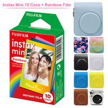 Geniune Fujifilm Instax Mini Instant Film Rainbow with Protective PU Leather Camera Case Bag for Fuji Instax Mini 70 Camera