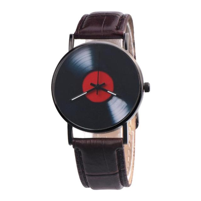 Fashion Women Watches Retro Vinyl Records Design Leather Watch Analog Alloy Quar