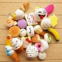 20 sztuk/partia Chleb Squishy Kawaii Śliczne Miękkie Panda Toust Donut Panda Telefon Brelok Pasek lody Ciasto Kid Prezent Domu wystrój