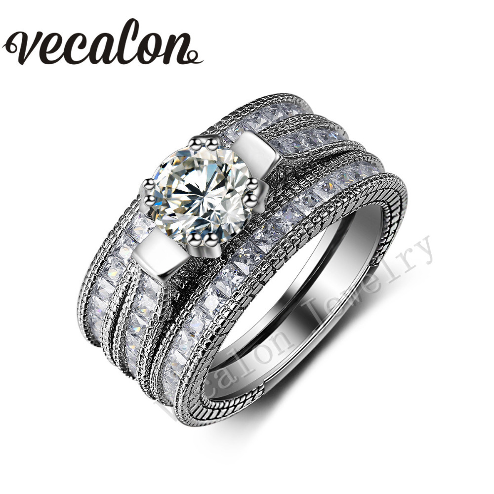 Vecalon Vintage ring 3ct AAAAA Zircon Cz 14KT White Gold Filled 3-in-1 Engagement Wedding Band Ring Set for Women Sz 5-11 kf 680 3 in 1 3 5 6 chic nanometer ceramic knives peeler set w holder white black