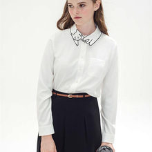 New Hot Cute Cat Embroidery Collar 2016 Spring Vintage White Blouse Long Sleeve Shirt For Fashion Women D612