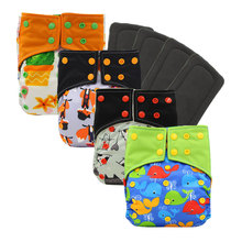 All-in-two AI2 Waterproof PUL Cloth Diaper Cover Double Gusset Nappy Baby Diapers Waterpoof Bamboo Charcoal Cloth Diaper Cover happyflute os bamboo velour fitted cloth diaper ai2 onesize no synthetic material to touch baby s skin birth to potty 5 15kg