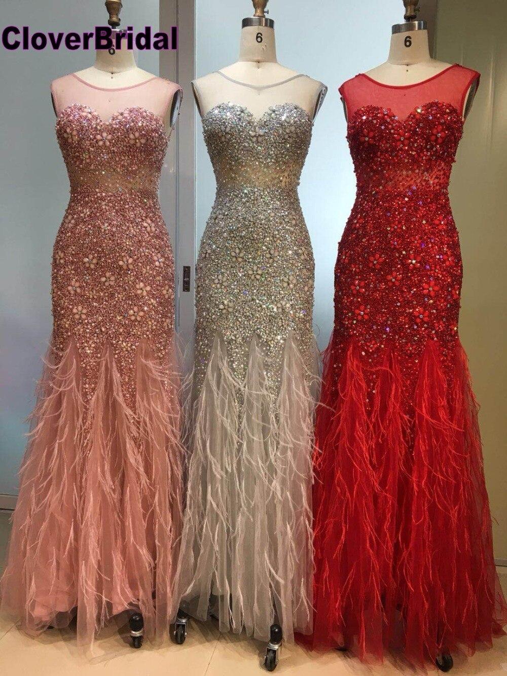 CloverBridal 2018 dernière conception de luxe éblouissant sirène pierres plumes robes de soirée longue robe de festa longo robe longue