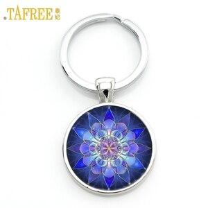 TAFREE Glass Gem Key Chains Yoga Mandala Blue Picture Key Holder Handmade summer jewelry Keychain bijoux car key ring M35-51