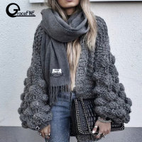 Women Fashion Korean American Long Lantern Sleeve Knitting Cardigan sweater Women Knitted Casual Warm Cardigan Shawl Sweater