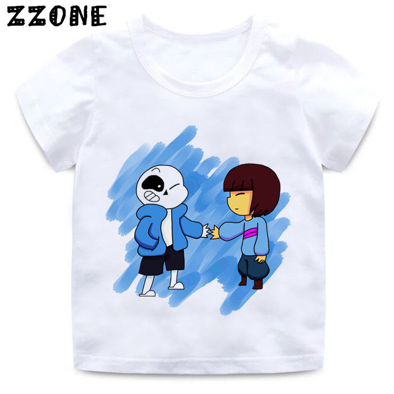 Girls and Boys Skull Brother Undertale Print Funny T shirt Kids - Children's Clothing - Photo 1
