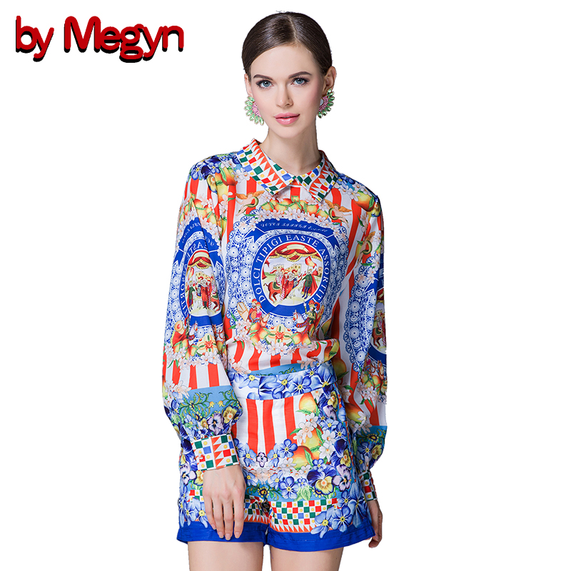 by Megyn runway new 2 Piece Set Women Fashion Casual Suit 2019 women Set Top and Shorts Set  Robe Vintage print-in Women's Sets from Women's Clothing    1