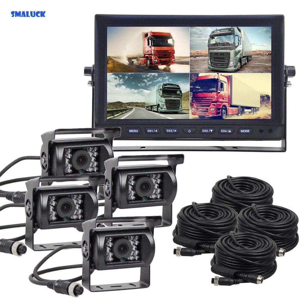 SMALUCK 10 дюймов Сплит QUAD Автомобильный монитор + 4 x CCD ИК ночного видения камера заднего вида Водонепроницаемая для автомобиля Грузовик Автобу