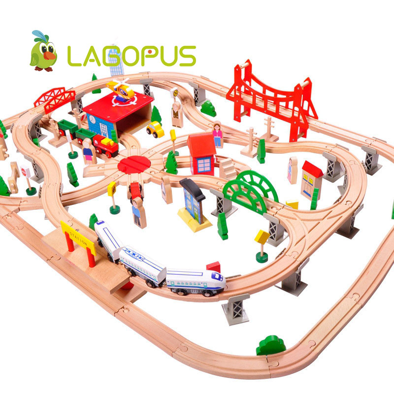 lagopus 130pcs Early Childhood Pupils Educational Toys puzzle toys Wooden Small Train Track Set Wooden Toys for Children