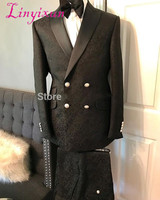Linyixun 2019 New Black Velvet Tuxedo Jacket One Button Prom Party Suits Peaked Lapel Tuxedos For Men Groom Wedding Suits With