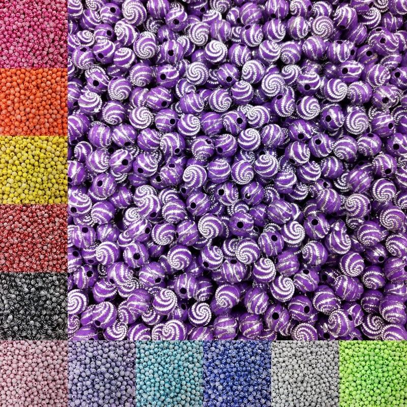 100 шт./лот Горячая 8 мм 13 цветов акриловые бусины для браслета ожерелье DIY Круглый спиральный узор Бесплатная доставка