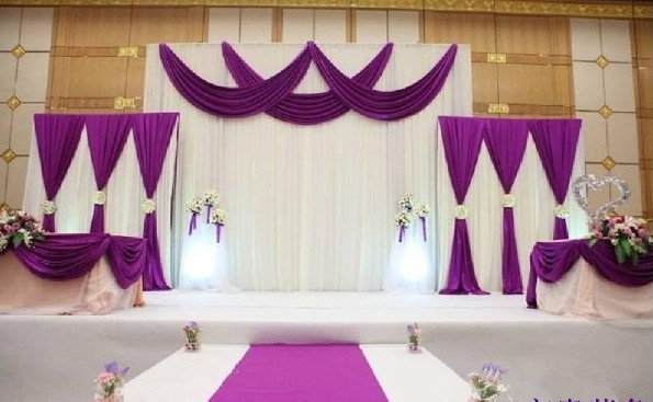 1 set white and purple wedding party stage decoration for Background curtain decoration