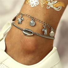 Double Silver Color Alloy Chain Starfish Turtle Anklet For Women Fashion Conch Pendant Handmade Jewelry