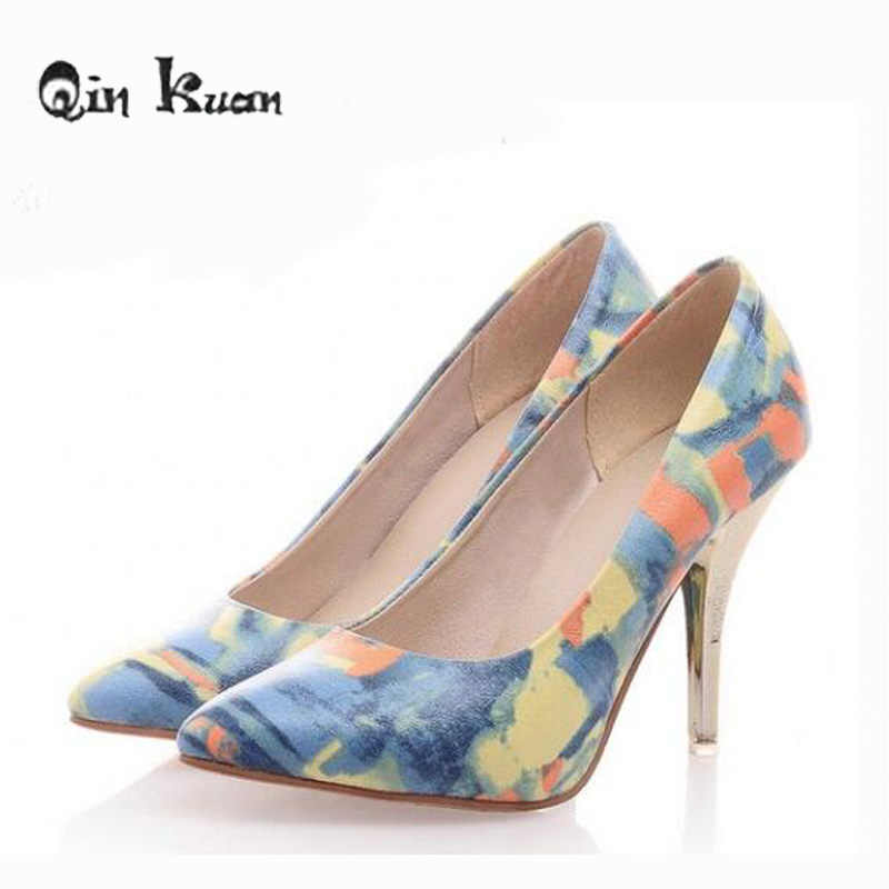 2f6307185c99 Qin Kuan Plus Size 34-47 Women Pointed Toe Stiletto Shoes Women European  Thin Heels