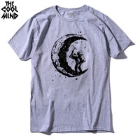 Top Quality Short Sleeve Digging The Moon Print Men Tshirt Casual Cotton Mens T Shirts Cool