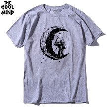 THE COOLMIND 100% cotton short sleeve digging the moon printed men t shirt casual o-neck mens t-shirt cool men's tee shirts tops