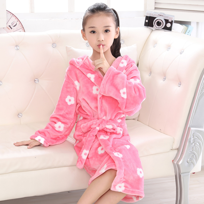 Autumn Winter Kids Robes Flannel Teenage Bathgrowns Bathrobes Warm Silk  Flower Girl Robes Children Pajamas Baby Soft Sleepwear-in Robes from Mother    Kids ... 60fc02b90