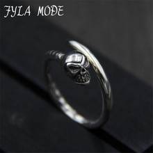 FYLA MODE 2017 Cool Skull Finger Ring Punk Retro S925 Sterling Silver Man's High Quality Jewelry Wholesale 2.50mm Width PBG020