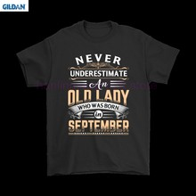 GILDAN Never Underestimate An Old Lady Who Was Born In September Shirts(China)