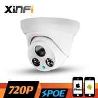 Xinfi 1.0mp hd 720 وعاء داخلي قبة كاميرا للرؤية الليلية ir-cut onvif p2p شبكة ip cctv الأمن كاميرا مع usb led هدية