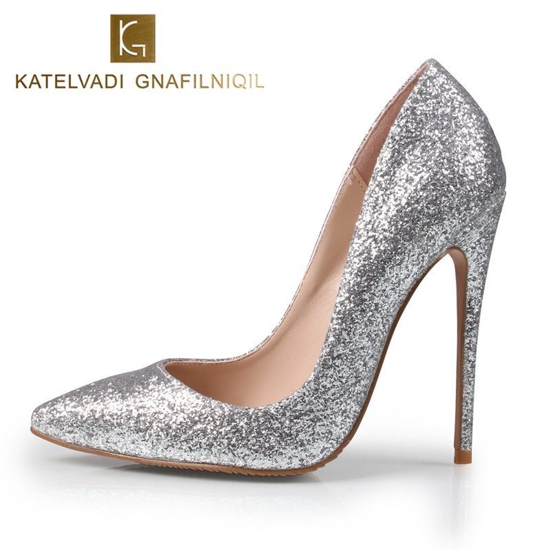 Brand Women Pumps 12CM High Heels Silver Glitter Wedding Shoes Woman High Heels Sexy Ladies Shoes Women High Heel Pumps B-0225
